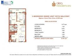 2-BEDROOM Inner Unit with Balcony 49.5sqm + 5.50sqm balcony + 7sqm Service Area