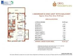 3-BEDROOM B End Unit with Balcony 70sqm + 15.5sqm balcony + 7sqm Service Area