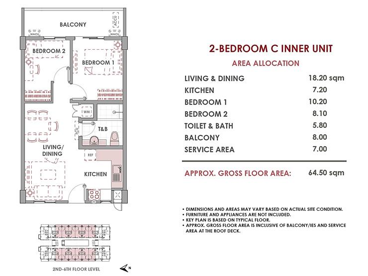 2-bedroom 64.5sqm